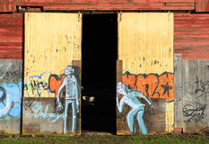 Graffiti on doors Royalty Free Stock Photo