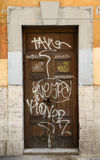 Graffiti Doors in Rome Royalty Free Stock Photos