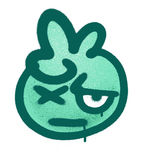 Graffiti doubting emoticon sprayed in green on white Royalty Free Stock Images