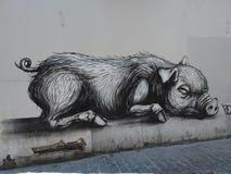Graffiti duża świnia Fotografia Stock