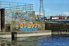 Graffiti durch den Fluss Trent Lizenzfreies Stockfoto