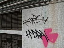 Graffiti durch rostiges Fenster Lizenzfreie Stockfotos