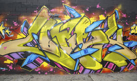 Graffiti at East Williamsburg neighborhood in Brooklyn, New York Stock Photo