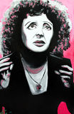 Graffiti Edith Piaf portrait. SETE, FRANCE  - SEPTEMBER 21, 2014: Graffiti portrait of Edith Piaf, famous french singer, on the wall of Sete, south of France Royalty Free Stock Image