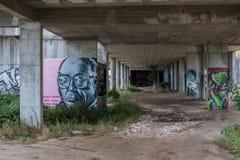 Graffiti in een oude bouwwerf Stock Fotografie