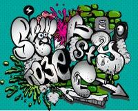 Graffiti elements. Set of Graffiti elements isolated on green background Stock Photo