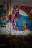 Graffiti en meningen van de verlaten stad van Consonno Lecco, Ita royalty-vrije stock foto
