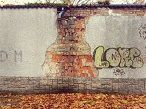 Graffiti on the eroded wall. Orange leaves and wall Stock Images