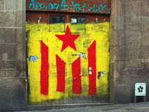 Graffiti. The Estelada, the Catalan independentist flag Stock Photography
