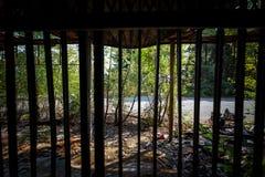 Graffiti et vues de la ville abandonnée de Consonno Lecco, AIE images libres de droits