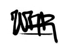 Graffiti etikettieren den Krieg, der mit Leck im Schwarzen auf Weiß gespritzt wird Stockfoto
