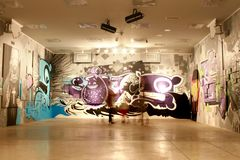 The graffiti exhibition in Riga. The hall of exhibition with graffiti example Stock Image