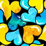 Graffiti färbten Hintergrund-Vektorillustration der Herzen nahtlose der Schmutzbeschaffenheit Stockfoto
