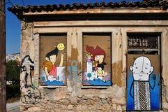 Graffiti felici imbarcati sulle finestre Fotografie Stock Libere da Diritti