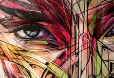 Graffiti femelle abstrait d'oeil et de visage image libre de droits