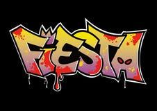 Graffiti Fiesta. 2D illustration looks graffiti fiesta on the black background Stock Photography