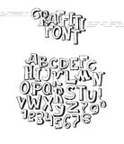 Graffiti font. Abc letters from A to Z and numbers from 0 to 9, isolated on white background. 3d hand drawn alphabet. Black. Graffiti font. Abc letters from A to royalty free illustration