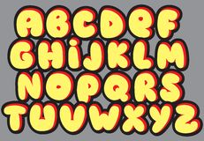 Graffiti font alphabet different letters. Vector Stock Photography
