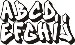 Graffiti font (part 1). Graffiti font alphabet (part 1 stock illustration