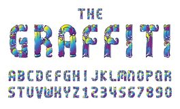 Graffiti fonts alphabet letter. numbers vector illustration. Graffiti fonts alphabet letter. hip hop type numbers vector illustration Royalty Free Stock Images