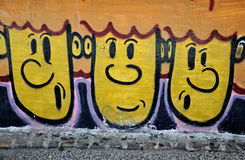 Graffiti funny faces Stock Photo