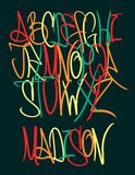 Graffiti funny font. Hand drawn colorful letters. stock illustration
