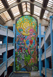Graffiti Gallery, Bucharest, Romania. BUCHAREST, ROMANIA - 14 JANUARY 2016: One of the first car parks in Europe, built in 1928, the Garajul Ciclop,provides a Royalty Free Stock Photo