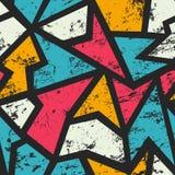 Graffiti geometric seamless pattern with grunge effect Royalty Free Stock Photography