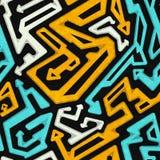 Graffiti geometric seamless pattern with grunge effect Stock Images
