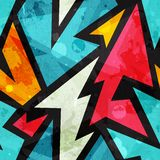Graffiti geometrisch naadloos patroon met grungeeffect Royalty-vrije Stock Foto's
