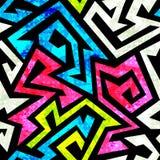 Graffiti geometrisch naadloos patroon met grungeeffect Royalty-vrije Stock Afbeelding