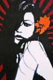 Graffiti-Gestaltungsarbeit einer attraktiven Frau Lizenzfreies Stockbild