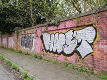 Graffiti at the ghost town Doel, Belgium stock image