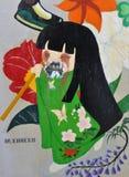 Graffiti giapponesi diabolici della ragazza Fotografie Stock Libere da Diritti