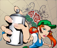 Graffiti Girl. A woman with spray can, all blends and gradients no meshes Stock Image