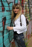 Graffiti and girl Royalty Free Stock Photography