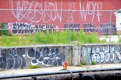 Graffiti. On walls in New York City stock image