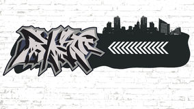 Graffiti on grunge city backround Stock Images
