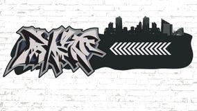 Graffiti on grunge city backround Stock Images