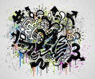 Graffiti grunge design. Grunge background design with graffiti and paint elements stock illustration