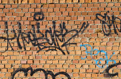 Graffiti on grunge wall Stock Photos