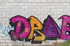 Graffiti on grunge wall Royalty Free Stock Images