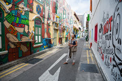 Graffiti in the Haji Lane in Singapore Stock Photos