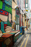 Graffiti in the Haji Lane in Singapore Royalty Free Stock Photography