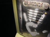 Graffiti hand on emergency phone stock photos