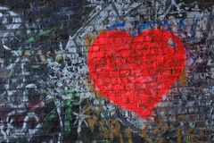 Graffiti Heart. Red graffit heart painted on a tunnel wall Royalty Free Stock Photos