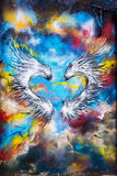 Graffiti heart shaped feather wings Stock Photos