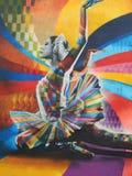 Graffiti in het centrum van Moskou Het beeld van de wereldberoemde die balletdanser Maya Plisetskaya door de schilder Kobra wordt Stock Fotografie