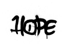 Graffiti hope word sprayed with leak in black on white Royalty Free Stock Photography