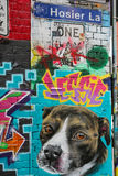 Graffiti in Hosier Lane with street sign Royalty Free Stock Photos